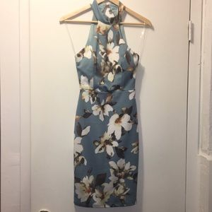 Halter strap floral mini dress